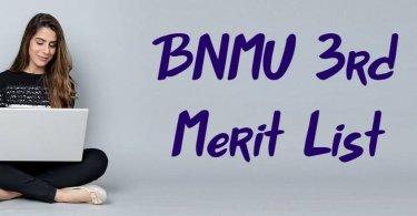 BNMU 3rd Merit List