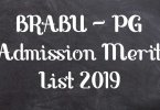 BRABU – PG Admission Merit List 2019