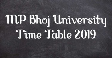 MP Bhoj University Time Table 2019