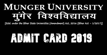 Munger University Admit Card 2019
