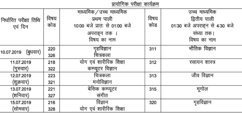 BBOSE Exam Time Table 2019