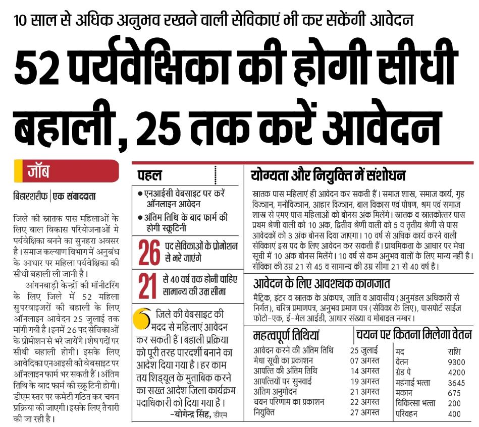 Bihar Anganwadi Supervisor 2019 के लिए ऑनलाइन
