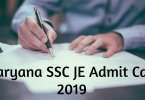 Haryana SSC JE Admit Card 2019