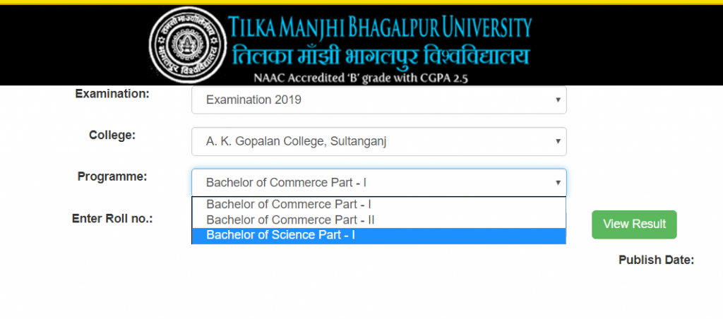 TMBU Resuts 2019 B Sc BA B Com – A to Z Classes