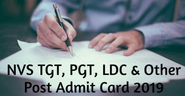 NVS TGT, PGT, LDC & Other Post Admit Card 2019