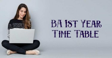 BA 1st Year Time Table