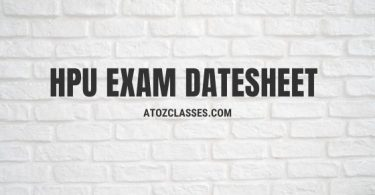 HPU Exam Datesheet
