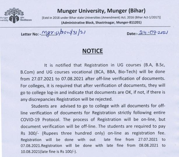 Munger University Part 1 Registration Notification