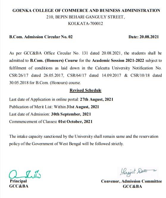 Goenka College of Commerce Admission Notice