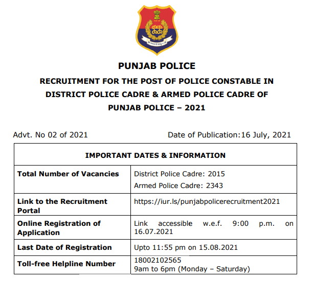 Punjab Police Constable Admit Card 2021