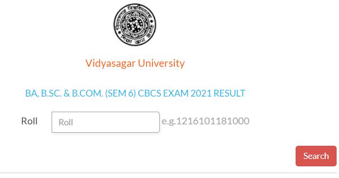 www.vidyasagar.ac.in 6th Sem Result