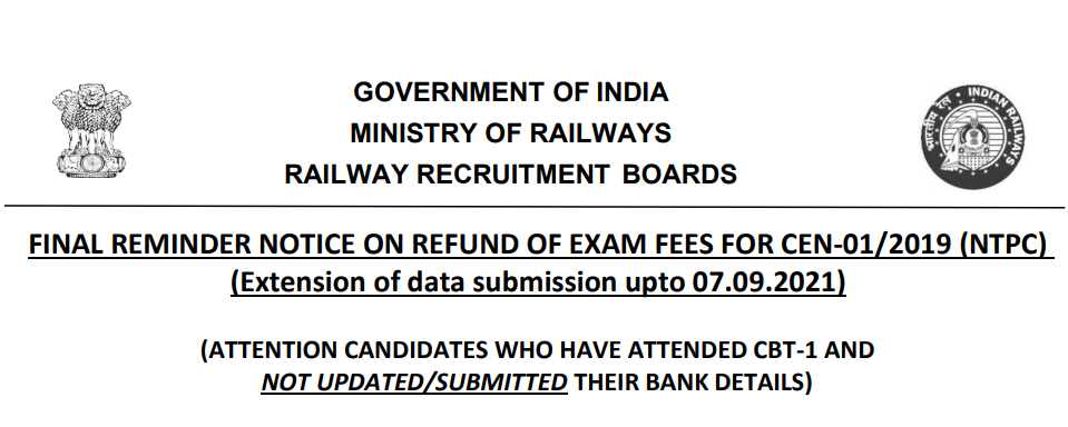 RRB NTPC FEE REFUND DATE