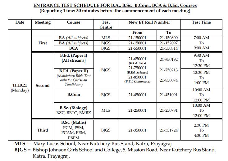 ECC PRAYGAGRAJ ENTRANCE TEST DATE