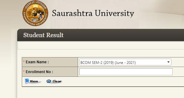 SAURASHTRA UNIVERSITY BCOM RESULT